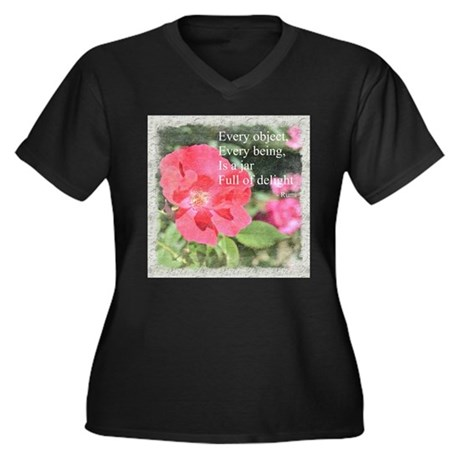 Rumi Quote Painted Rose Women's Plus Size V-Neck D