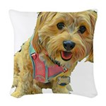what up dog Woven Throw Pillow
