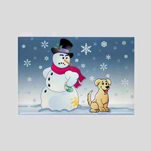 Yellow Lab and Snowman Rectangle Magnet