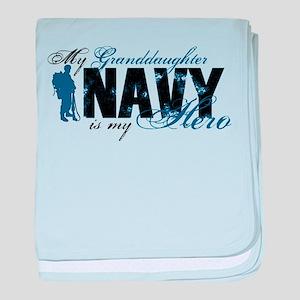 Granddaughter Hero3 - Navy baby blanket