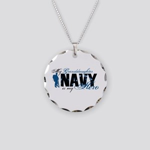 Granddaughter Hero3 - Navy Necklace Circle Charm