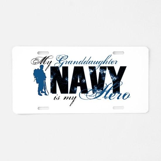 Granddaughter Hero3 - Navy Aluminum License Plate