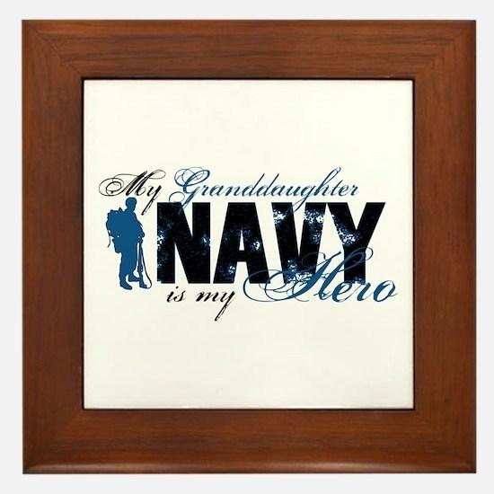 Granddaughter Hero3 - Navy Framed Tile