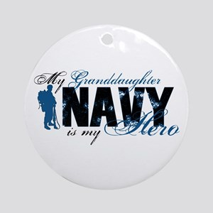 Granddaughter Hero3 - Navy Ornament (Round)