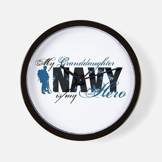 Granddaughter Hero3 - Navy Wall Clock