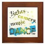Lights Camera Music Dance Framed Tile