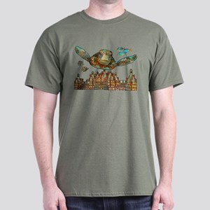 Sea Turtle Over Atlantis Dark T-Shirt