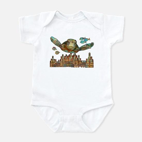 Sea Turtle Over Atlantis Infant Bodysuit