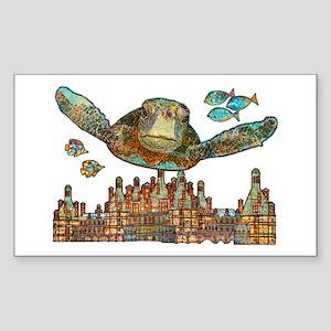 Sea Turtle Over Atlantis Sticker (Rectangle)