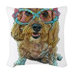 rose colored glasses Woven Throw Pillow