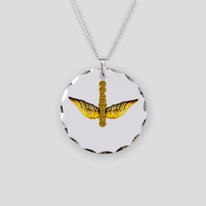 DoubleWingGold Necklace Circle Charm