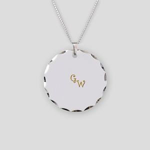 GW Monogram Necklace Circle Charm