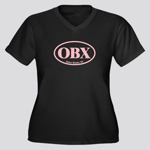 OBX Outer Banks NC Women's Plus Size V-Neck Dark T