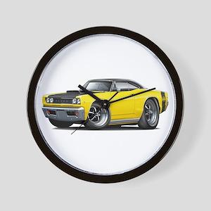 1968 Super Bee Yellow Car Wall Clock