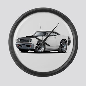 1968 Super Bee White Car Large Wall Clock