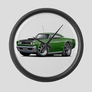 1968 Super Bee Green Car Large Wall Clock