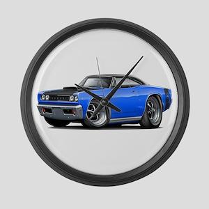1968 Super Bee Blue-Black Car Large Wall Clock