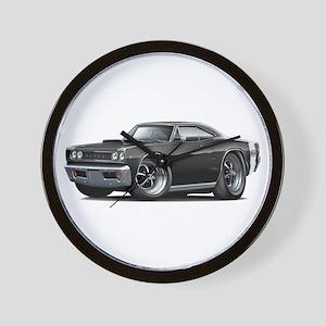 1968 Super Bee Black Car Wall Clock