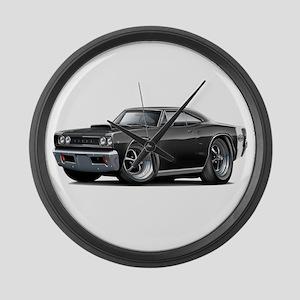 1968 Super Bee Black Car Large Wall Clock
