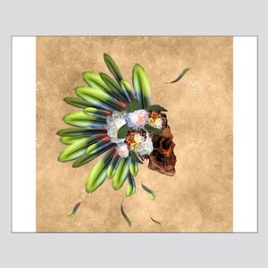 Awesome skull with feathers and flowers Posters