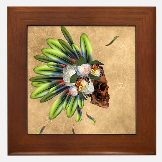 Awesome skull with feathers and flowers Framed Til