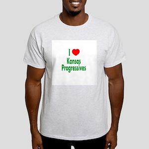 I Love Kansas Progressives Ash Grey T-Shirt
