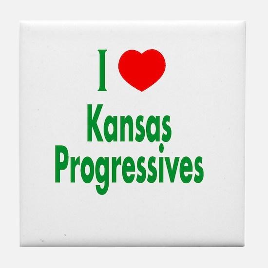 I Love Kansas Progressives Tile Coaster