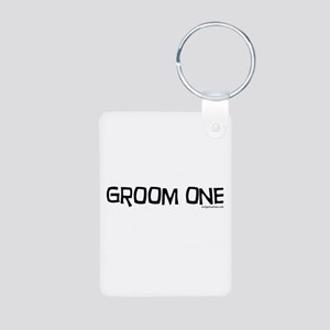 Groom one funny wedding Aluminum Photo Keychain