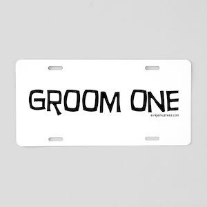 Groom one funny wedding Aluminum License Plate