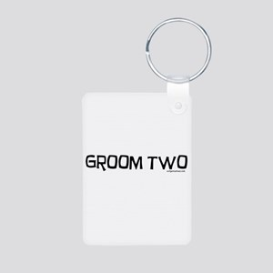 Groom two funny wedding Aluminum Photo Keychain