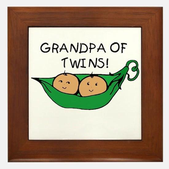 Grandpa of Twins Pod Framed Tile