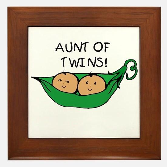 Aunt of Twins Pod Framed Tile