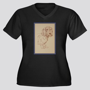 Wirehaired Dachshund Dog Art Women's Plus Size V-N