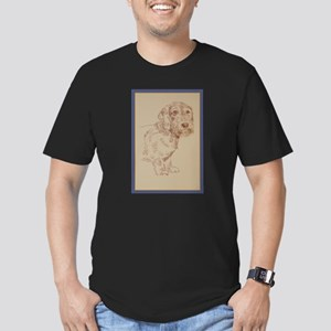 Wirehaired Dachshund Dog Art Men's Fitted T-Shirt