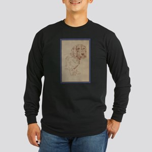 Wirehaired Dachshund Dog Art Long Sleeve Dark T-Sh
