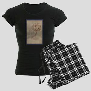 Wirehaired Dachshund Dog Art Women's Dark Pajamas