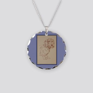 Wirehaired Dachshund Dog Art Necklace Circle Charm