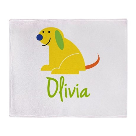 Olivia Loves Puppies Throw Blanket