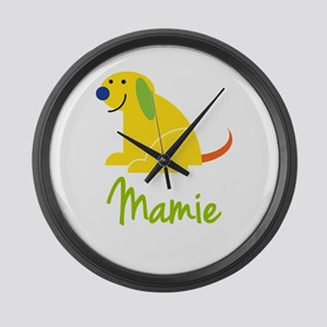 Mamie Loves Puppies Large Wall Clock