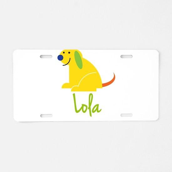 Lola Loves Puppies Aluminum License Plate