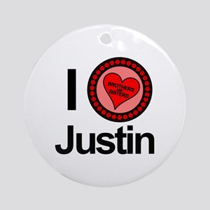 I Love Justin Brothers & Sisters Ornament (Round)