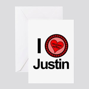 I Love Justin Brothers & Sisters Greeting Card