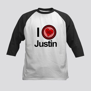 I Love Justin Brothers & Sisters Kids Baseball Jer