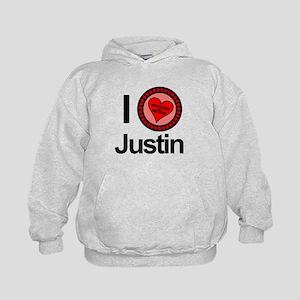 I Love Justin Brothers & Sisters Kids Hoodie