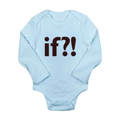 if?! white/brown Long Sleeve Infant Bodysuit