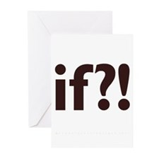 if?! white/brown Greeting Cards (Pk of 20)