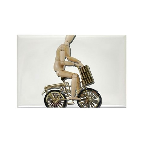 Riding Bicycle with Basket Rectangle Magnet