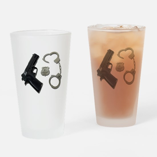 Police Badge Gun Handcuffs Drinking Glass