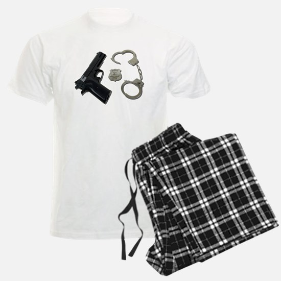 Police Badge Gun Handcuffs Pajamas