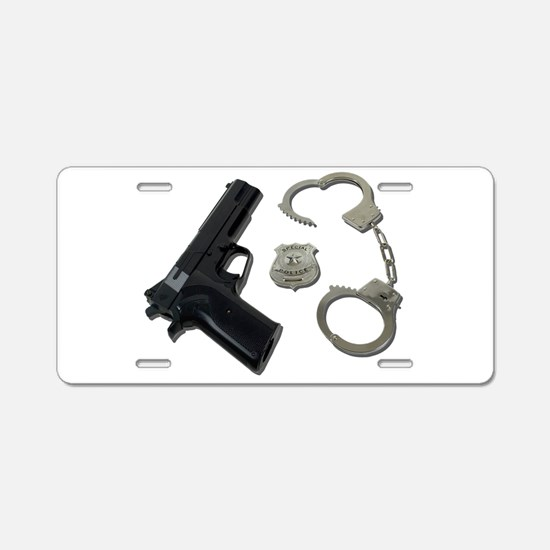 Police Badge Gun Handcuffs Aluminum License Plate